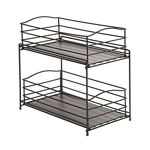 Seville Classics 2-Tier Sliding Basket Kitchen Cabinet Organizer, Gun - Rack Countertop