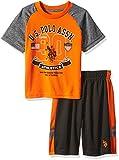 U.S. Polo Assn.. Little Boys' Toddler Short Sleeve T-Shirt and Mesh Short Set, Orange, 4T
