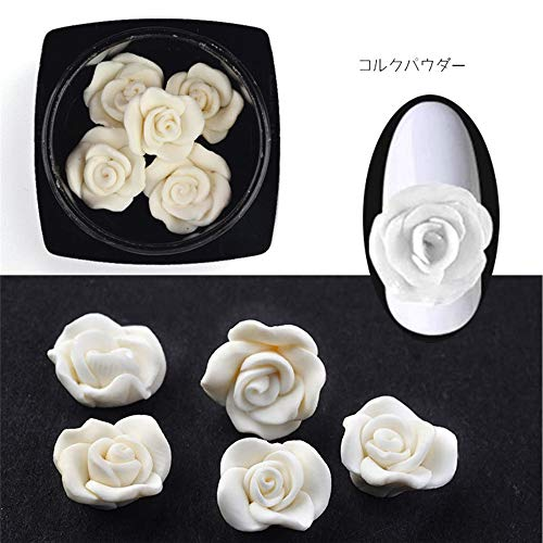 1 Box Nail Flower Design Fimo Rose Flowers 3D Nail Art Charm Decorations Nail Art Ceramic Flower Nail Supplies Nails Accessories (White)
