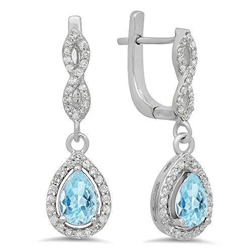 - Dazzlingrock Collection 14K Pear Aquamarine & Round White Diamond Ladies Halo Style Dangling Drop Earrings, White Gold