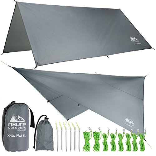- Camping RAIN Fly TARP 10'x10' Ultra Light Ripstop Nylon Water Proof Outdoor Tent SHELTER Backpacking Hiking Travel Bushcraft Survival Gear Includes Stakes Ropes Stuff Sack