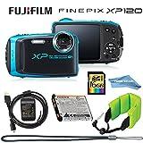 Fujifilm FinePix XP120 Waterproof Digital Camera (Sky Blue), 16GB Memory Card, Camera Float, Accessories, Prime Seller Cloth