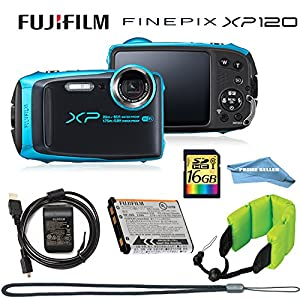 Fujifilm FinePix XP120 Waterproof Digital Camera (Sky Blue), 16GB Memory Card, Camera Float, Accessories, Prime Seller Cloth