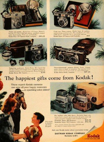 1956 Ad Eastman Kodak Christmas Camera and Lens Models - Original Print (Eastman Kodak Company Lens)