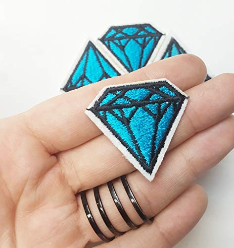 Small Blue Ice Diamond Crystal, Line Geometric Iron-On/Sew-On Embroidered Patch TY-259
