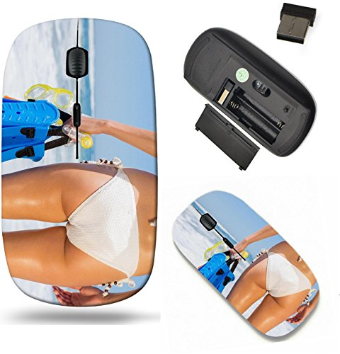 Liili Wireless Mouse Travel 2.4G Wireless Mice with USB Receiver, Click with 1000 DPI for notebook, pc, laptop, computer, mac book Fit woman in white bikini holding snorkeling gear on the beach on a s