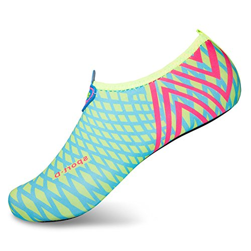L-RUN Couple's Surf Aqua Beach Water Socks Sports Trainer Shoes,Light Blue,L(W:8.5-9,M:6-6.5)