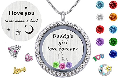 - My Daughter Gifts from Dad, Floating Living Memory Lockets Pendant Necklace With 12 Birthstone Charm for Daddy's Little Girl
