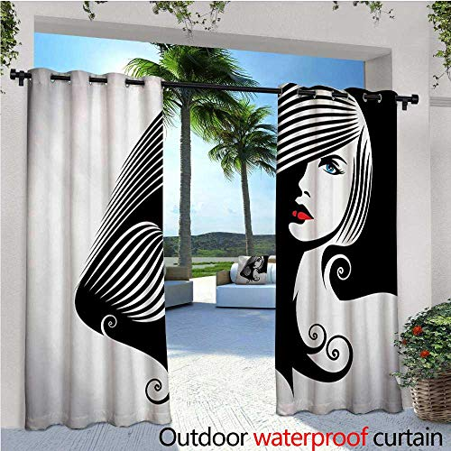 homehot Contemporary Exterior/Outside Curtains Abstract and Artistic Woman