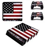 Pandaren PS4 Slim Console Full Skin Sticker Faceplates(Console Skin X 1 + Controller Skin X 2)(Flag)