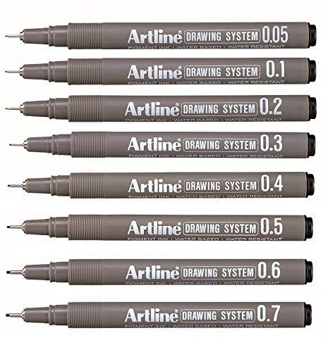 Artline 0.05mm - 0.7mm Fine Nib Black Drawing Pen, Set Of 8 Pens With 1 Pen In Each Size (B01EL6BYB2) Amazon Price History, Amazon Price Tracker