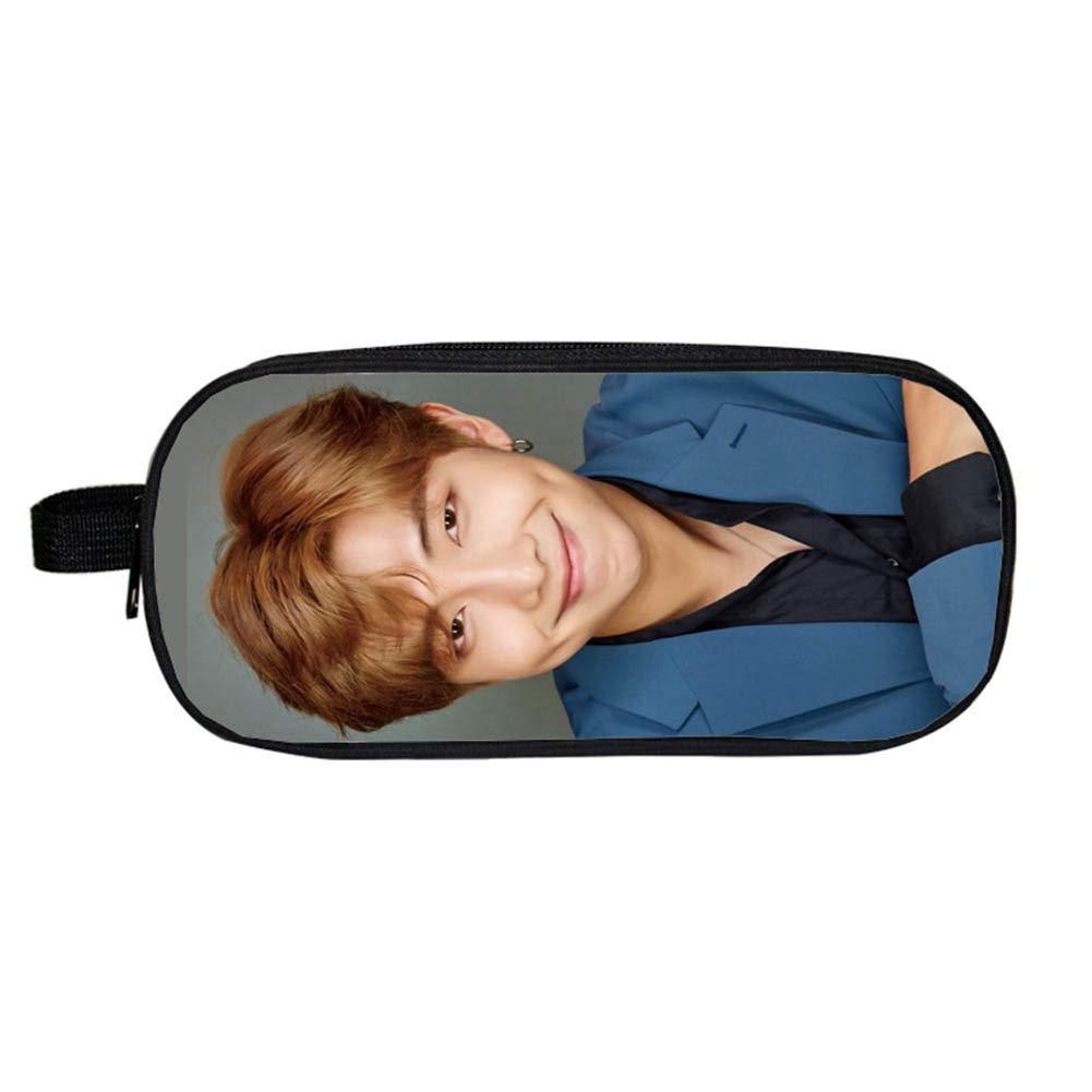 Chutoral Kpop BTS Bangtan Boys Pencil Case, Large Capacity Pencil Pouch Bag Holder Organizer with Zipper for Office School Student Boys Girls(H08)