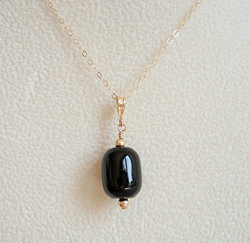 Focal Barrel (Black Agate Barrel Pendant Necklace 14K Gold Filled Chain 20 Inch)