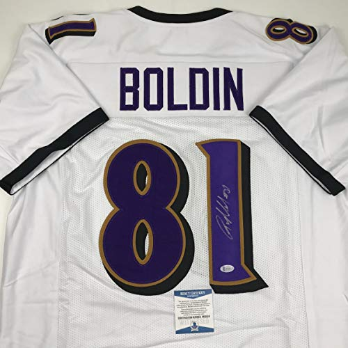 Autographed/Signed Anquan Boldin Baltimore White Football Jersey Beckett BAS COA