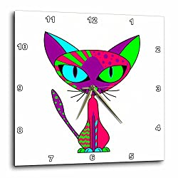 3dRose dpp_24721_1 Cattitude 1 Cute Colorful Cat Pink Purple Green Blue-Wall Clock, 10 by 10-Inch