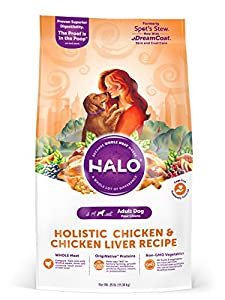 Halo Holistic Dry Dog Food, Chicken and Chicken Liver Recipe, 25 LB Bag of Natural Dog Food