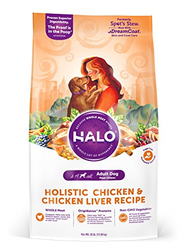 Halo Holistic Dry Dog Food - Chicken and Chicken Liver Recipe - 25 LB Bag of Natural Dog Food