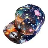 ZLYC Starry Galaxy Sky Neon Pattern Flatbill Snapback Adjust Baseball Cap Hat, Black