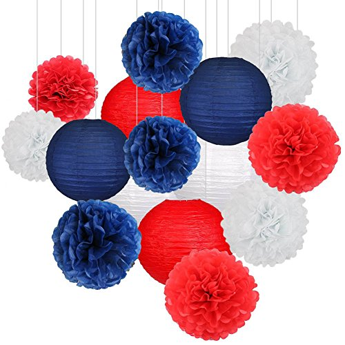 Nautical Party Decor Pom Poms Tissue Paper Lanterns Navy Blue Mixed Red White Patriotic Decorations Captain America Party Supplies for Baby Shower Boy Scout Banquet Birthday Party Decorations -