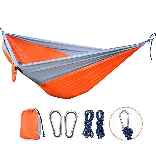 Price comparison product image OUTLIFE Camping Hammock- Portable 2 Person Tree Swing Foldable 660lbs Parachute Nylon Fabric Sling Bed with Ropes&Carabiners for Garden,  Backyard,  Beach