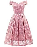 Tecrio Women's Vintage Floral Lace Off Shoulder Evening Party Prom Swing Dress