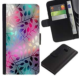 LECELL--Cuero de la tarjeta la carpeta del tirón Smartphone Slots Protección Holder For HTC One M8 -- PASTEL NEON Modelo de la hoja --