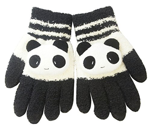 Cartoon Gloves Hands - Liying Cute Cartoon Touch Screen Gloves Women gloves Arm Warmer Gloves for girls, ladies, women, female, Christmas gifts, Birthday gifts, etc. (black white cat)