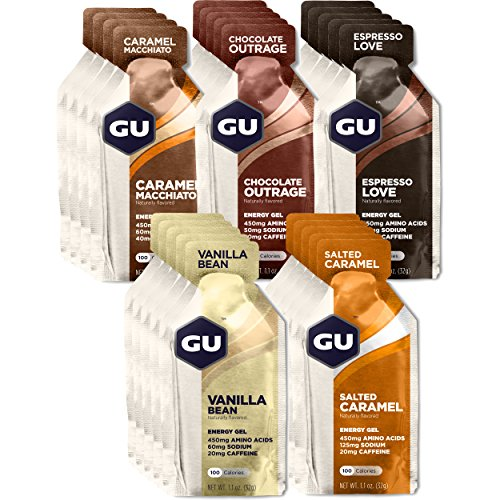 GU Energy Original Sports Nutrition Energy Gel, Assorted Indulgent Flavors, 24-Count Box