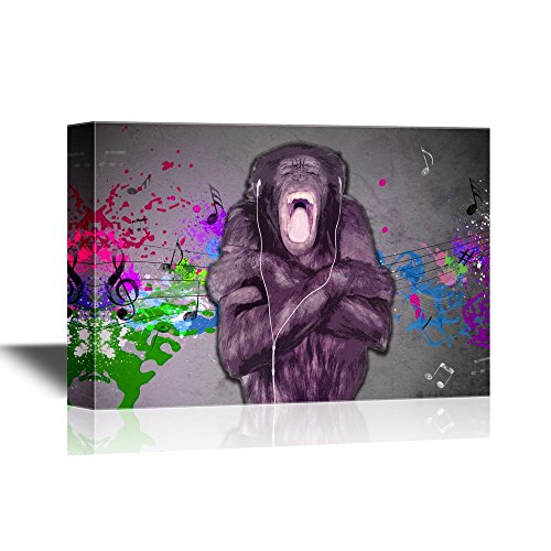 Chimpanzee Listinging to Music Funny Animal Concept