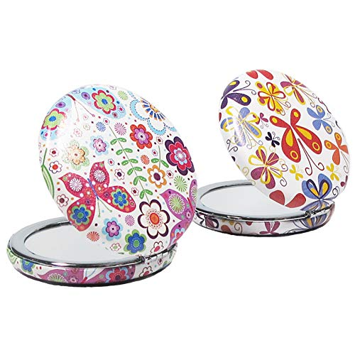 2pcs Floral Print Circle Round Travel Makeup Pocket Mirrors Compact Adorable Small Gifts