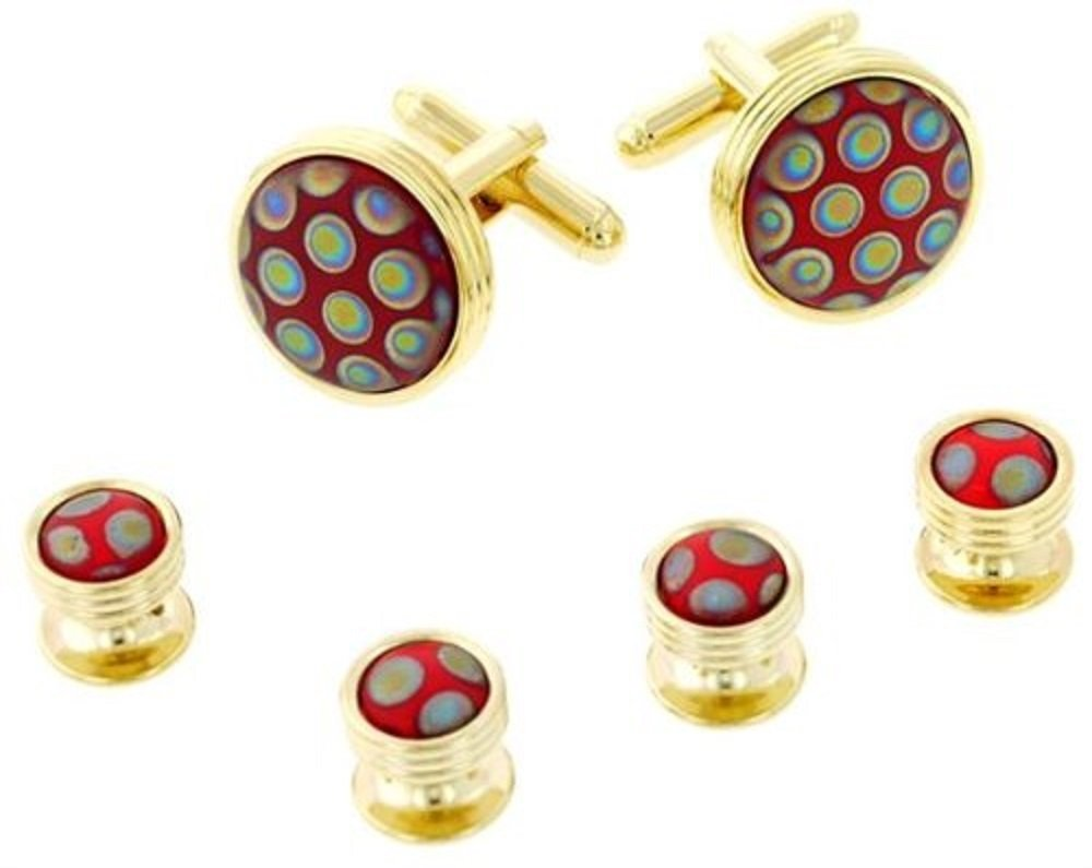 JJ Weston Peacock Art Glass Tuxedo Cufflinks and Shirt Studs. Made in the USA.