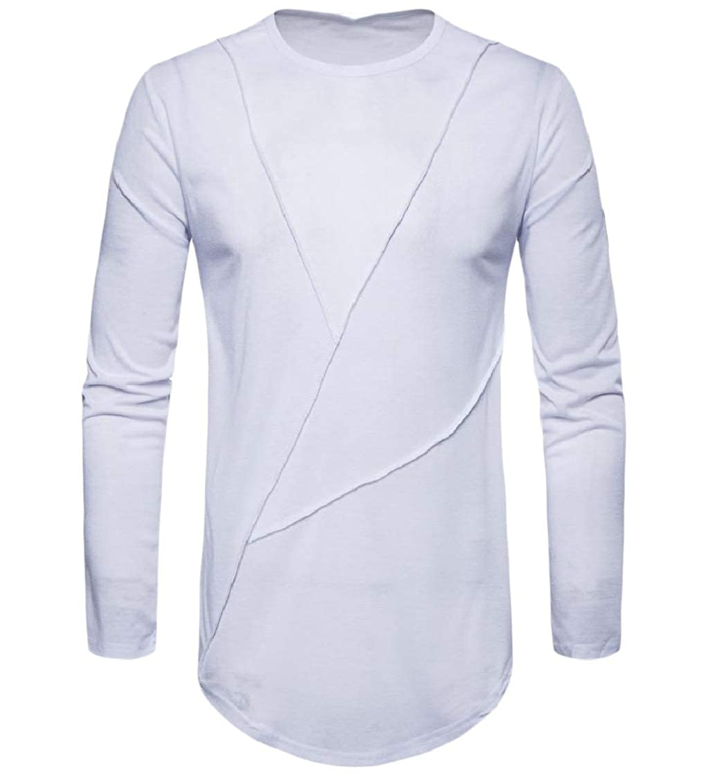 YUNY Mens Long-Sleeve Crew Neck Pullover Solid Soft Blouse T-Shirt Tops White L