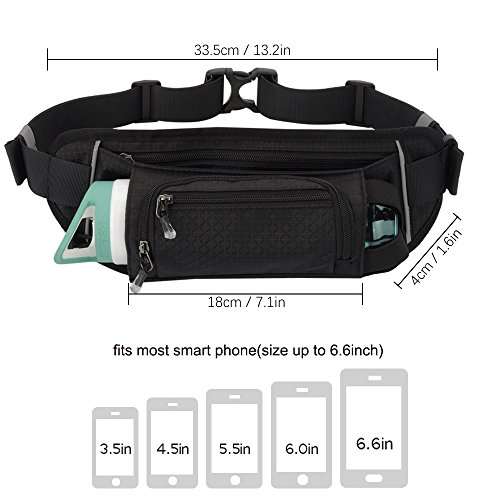 Sport Waist Bag Fanny Pack Black Waterproof, with Water Bottle Holder, for Men Women Running Hiking Cycling Climbing by JINGHAO (Image #4)