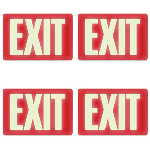 (Headline Sign 4792 Glow-in-the-Dark Exit Sign, 8 Inches by 12 Inches, 4 Packs)