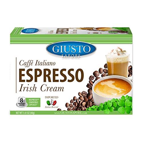 Giusto Sapore Caffe Italiano Espresso Italian Roasted Irish Cream Coffee - 8 Nespresso Compatible Capsules - Extra Superior Quality Gourmet Brand - Family Owned