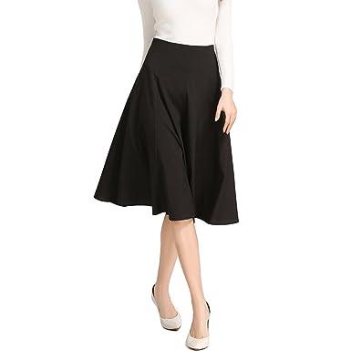 The Best Women Skirt Vintage High Waist Ball Gown Midi Swing Skirt A-line Knee Length Size S-xl Bottoms