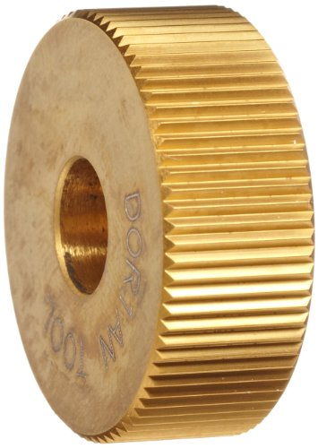 Dorian-Tool-O-Series-High-Speed-Steel-Straight-Pattern-Knurl-Wheel-with-PVD-TiN-Coated-Beveled-1-Diameter-38-Thick-516-Hole-Diameter-25-TPI