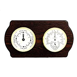 Bey-Berk WS420 Tide Clock and Thermometer with Hygrometer on Ash Wood with Brass Bezel. Wall Mounts Vertically or Horizontally. Brown