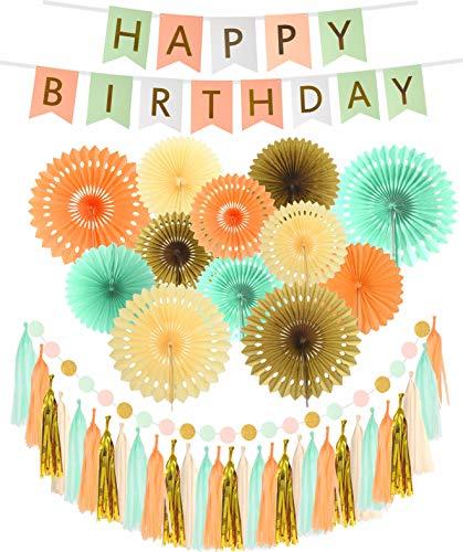 Pink Green White Happy Birthday Wall Banner| Mint Gold Glitter Peach Cream Paper Fans Birthday Decorations | Happy Birthday Decorations for $<!--$21.99-->