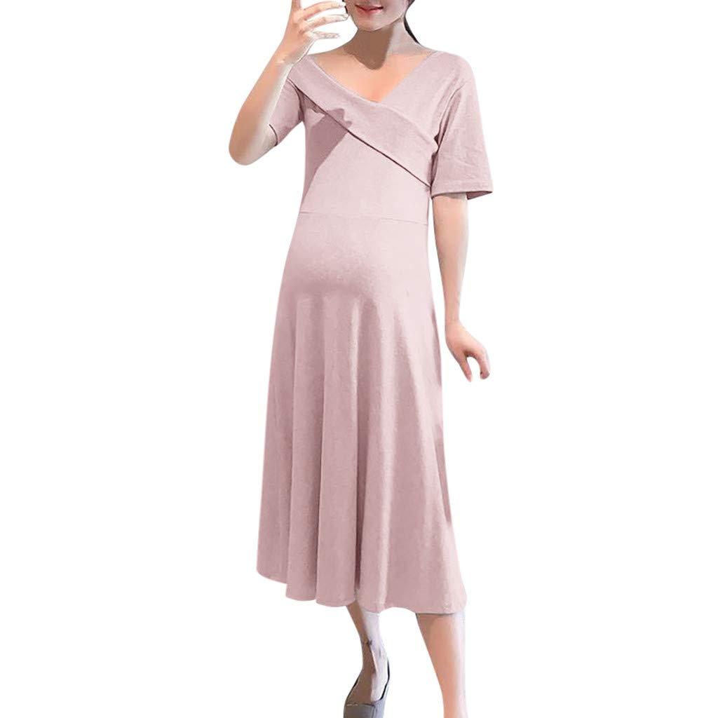 Iusun Women's Maternity Long Dress Casual V-Neck Short Sleeve Sundress Nursing Breastfeeding Pregnants for Summer Daily Vacation Holiday