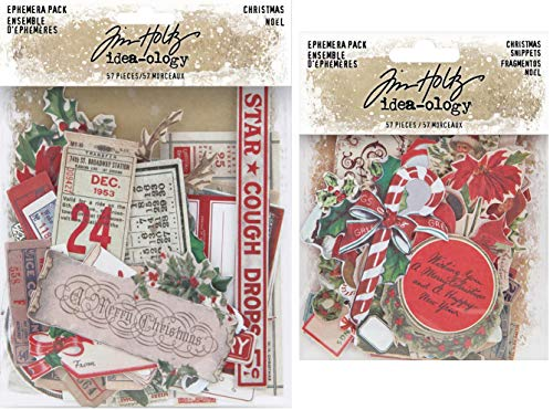 Tim Holtz Idea-Ology 2020 Christmas Ephemera Pack & Christmas Snippets Pack - 2 Items