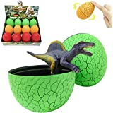 KISSKIDS Tumbler Roly-Poly Dinosaur Eggs with Mini Dino,Plastic Assorted Dinosaurs with Book for Kids, Pack of 12