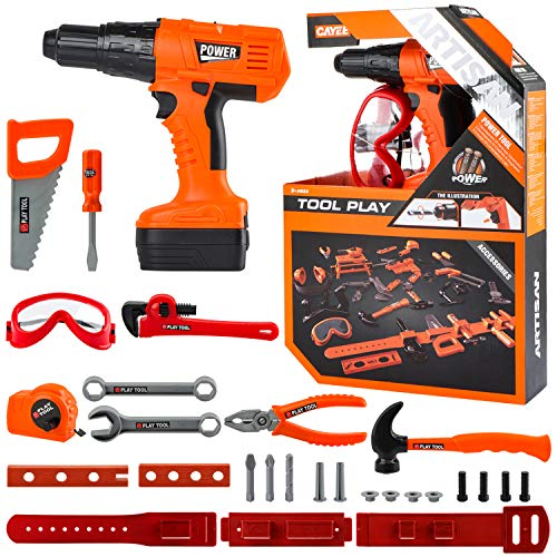 Kids Tool Set Durable Pretend Play Construction Tool Set Realistic Construction Tool Toy Contains Toy Hammer, Goggles, Electric Drill and 28 pcs Play Tools (Orange)