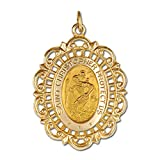 Genuine 14K Yellow Gold Solid Oval St Christopher Medal in Filigree Frame (3/4''x7/8'')