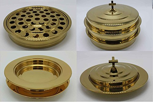 Brasstone 2 Stainless Steel Communion Trays With 1 Lid And 2 Bread Trays With 1 Lid
