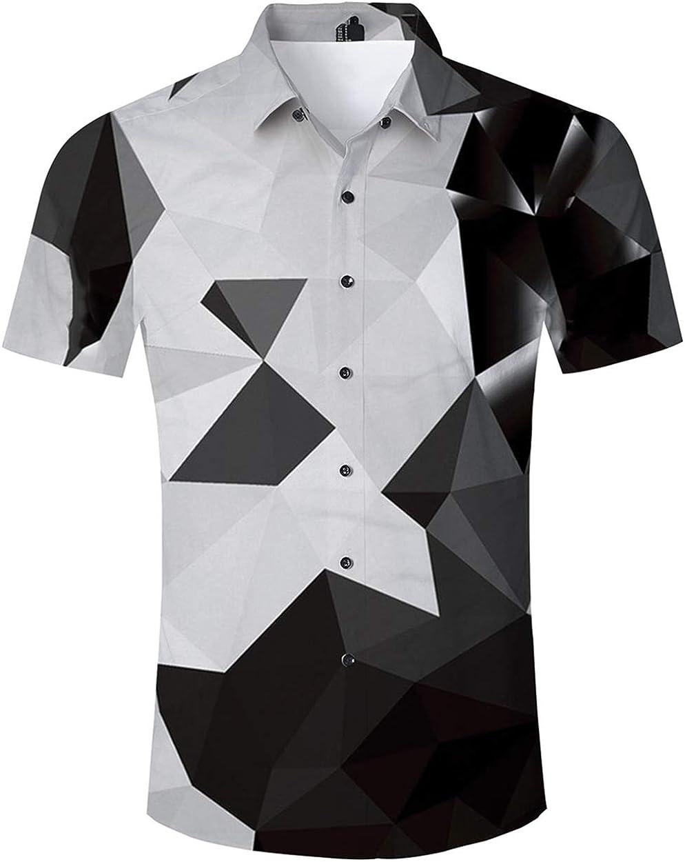 ALISISTER Camisa Hawaiana Hombre Manga Corta con Estampado geométrico Camisa Luau Tropical de Hawai Camisa en Blanco y Negro Retro M