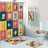 PRUNUSHOME 5-piece Bathroom Set-Includes Shower Curtain Liner,school and education icons set Decorate the bathroom(Small)
