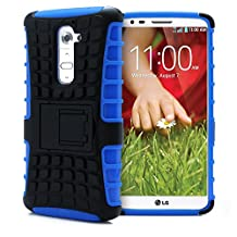 LG G2 Case, MagicMobile® Ultra Protective Shockproof Defender Case for LG G2 Dual Hybrid Layer [PERFECT-FIT] Rugged TPU Case for LG G2 with Kickstand [STAND] - Blue (Compatible Only with LG G2 [2013] )
