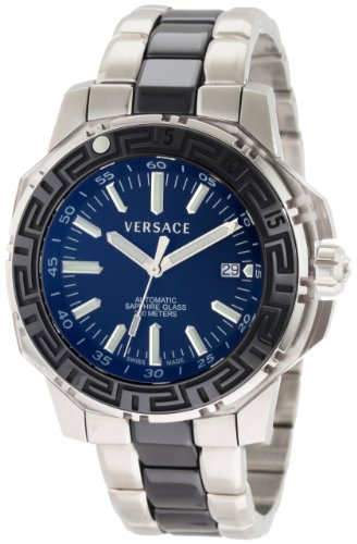 Versace Men's 15A99D009 S099 Diver Automatic Steel and Black PVD Bracelet Divers Black Watch