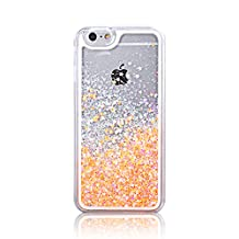 iPhone 5s Glitter Case, TIPFLY Transparent Stars Quicksand Moving Bling Floating Dynamic Flowing Liquid Case Hard Plastic Cover for Apple iPhone 5/5s/SE - Light Golden